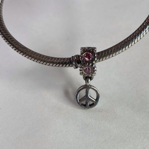Pandora Sterling Silver Pink Peace Sign Charm